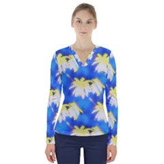 Palm Trees Bright Blue Green V Neck Long Sleeve Top