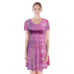 Purple Splash And Pink Shimmer Created By Flipstylez Designs Short Sleeve V Neck Flare Dress by flipstylezdes