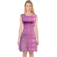 Purple Splash And Pink Shimmer Created By Flipstylez Designs Capsleeve Midi Dress