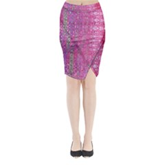 Purple Splash And Pink Shimmer Created By Flipstylez Designs Midi Wrap Pencil Skirt