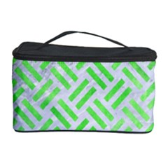 Woven2 White Marble & Green Watercolor (r) Cosmetic Storage Case
