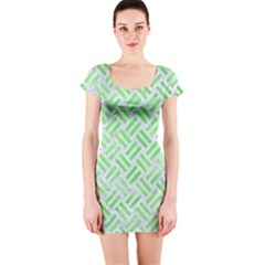 Woven2 White Marble & Green Watercolor (r) Short Sleeve Bodycon Dress