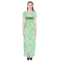 Woven2 White Marble & Green Watercolor (r) Short Sleeve Maxi Dress