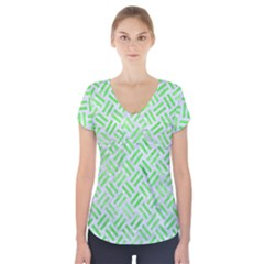 Woven2 White Marble & Green Watercolor (r) Short Sleeve Front Detail Top