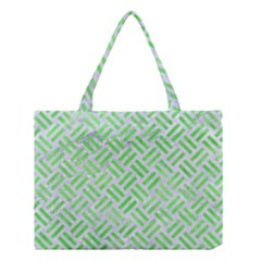 Woven2 White Marble & Green Watercolor (r) Medium Tote Bag