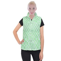 Woven2 White Marble & Green Watercolor (r) Women s Button Up Vest