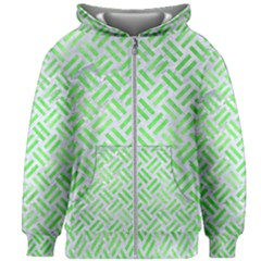 Woven2 White Marble & Green Watercolor (r) Kids Zipper Hoodie Without Drawstring
