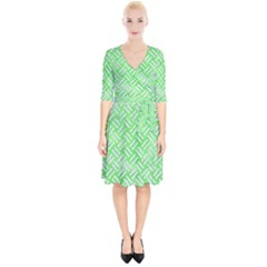 Woven2 White Marble & Green Watercolor Wrap Up Cocktail Dress by trendistuff