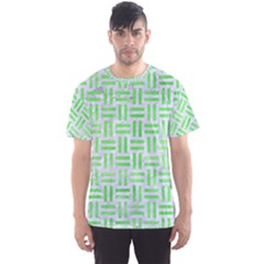 Woven1 White Marble & Green Watercolor (r) Men s Sports Mesh Tee