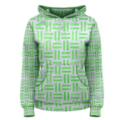 Woven1 White Marble & Green Watercolor (r) Women s Pullover Hoodie