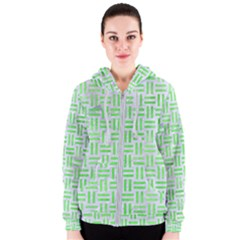 Woven1 White Marble & Green Watercolor (r) Women s Zipper Hoodie