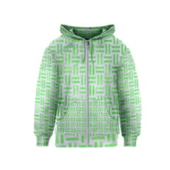 Woven1 White Marble & Green Watercolor (r) Kids  Zipper Hoodie