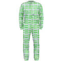 Woven1 White Marble & Green Watercolor (r) Onepiece Jumpsuit (men)