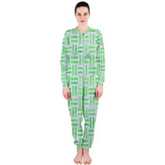 Woven1 White Marble & Green Watercolor (r) Onepiece Jumpsuit (ladies)