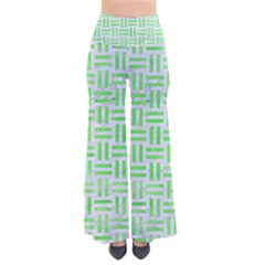 Woven1 White Marble & Green Watercolor (r) So Vintage Palazzo Pants