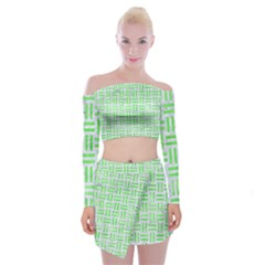 Woven1 White Marble & Green Watercolor (r) Off Shoulder Top With Mini Skirt Set
