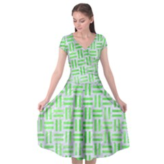 Woven1 White Marble & Green Watercolor (r) Cap Sleeve Wrap Front Dress by trendistuff
