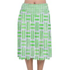 Woven1 White Marble & Green Watercolor (r) Velvet Flared Midi Skirt