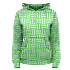 Woven1 White Marble & Green Watercolor Women s Pullover Hoodie
