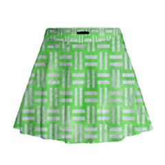 Woven1 White Marble & Green Watercolor Mini Flare Skirt