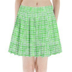 Woven1 White Marble & Green Watercolor Pleated Mini Skirt
