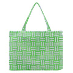 Woven1 White Marble & Green Watercolor Zipper Medium Tote Bag
