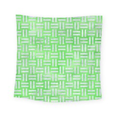 Woven1 White Marble & Green Watercolor Square Tapestry (small)