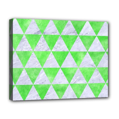 Triangle3 White Marble & Green Watercolor Canvas 14  X 11