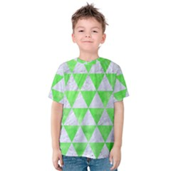 Triangle3 White Marble & Green Watercolor Kids  Cotton Tee