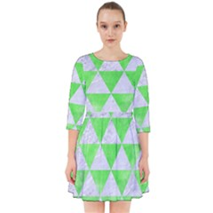 Triangle3 White Marble & Green Watercolor Smock Dress
