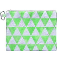 Triangle3 White Marble & Green Watercolor Canvas Cosmetic Bag (xxxl)