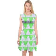 Triangle2 White Marble & Green Watercolor Capsleeve Midi Dress