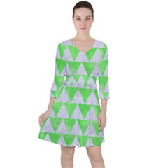Triangle2 White Marble & Green Watercolor Ruffle Dress