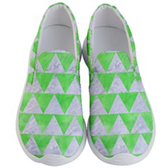Triangle2 White Marble & Green Watercolor Men s Lightweight Slip Ons