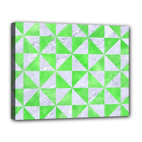 Triangle1 White Marble & Green Watercolor Canvas 14  X 11