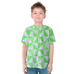 Triangle1 White Marble & Green Watercolor Kids  Cotton Tee