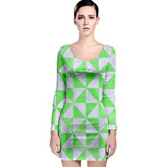 Triangle1 White Marble & Green Watercolor Long Sleeve Bodycon Dress