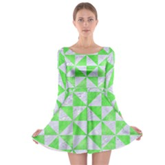 Triangle1 White Marble & Green Watercolor Long Sleeve Skater Dress