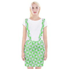 Triangle1 White Marble & Green Watercolor Braces Suspender Skirt