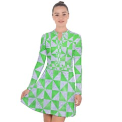 Triangle1 White Marble & Green Watercolor Long Sleeve Panel Dress