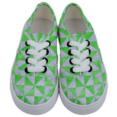 Triangle1 White Marble & Green Watercolor Kids  Classic Low Top Sneakers