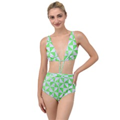 Triangle1 White Marble & Green Watercolor Tied Up Two Piece Swimsuit