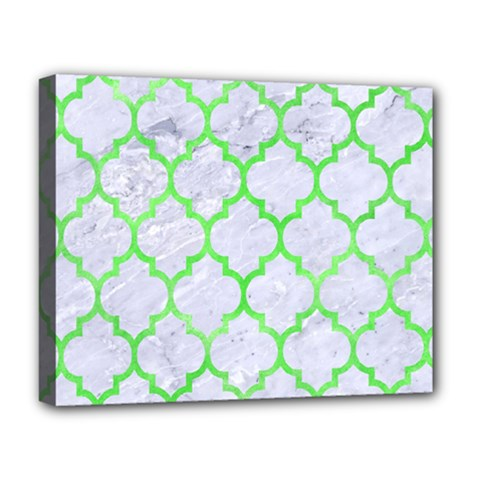 Tile1 (r) White Marble & Green Watercolor Deluxe Canvas 20  X 16
