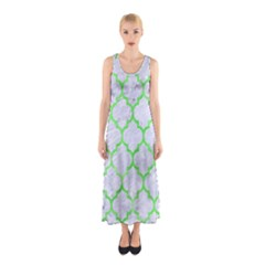 Tile1 (r) White Marble & Green Watercolor Sleeveless Maxi Dress