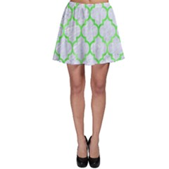 Tile1 (r) White Marble & Green Watercolor Skater Skirt