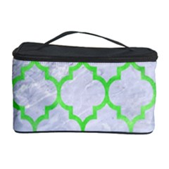 Tile1 (r) White Marble & Green Watercolor Cosmetic Storage Case