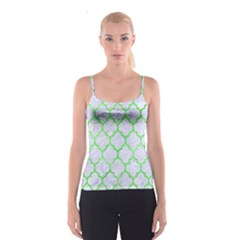 Tile1 (r) White Marble & Green Watercolor Spaghetti Strap Top