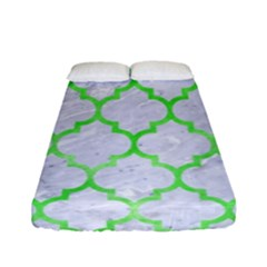 Tile1 (r) White Marble & Green Watercolor Fitted Sheet (full/ Double Size)
