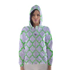 Tile1 (r) White Marble & Green Watercolor Hooded Windbreaker (women)