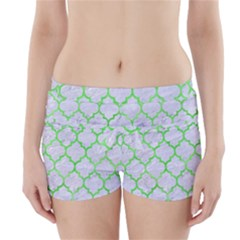 Tile1 (r) White Marble & Green Watercolor Boyleg Bikini Wrap Bottoms
